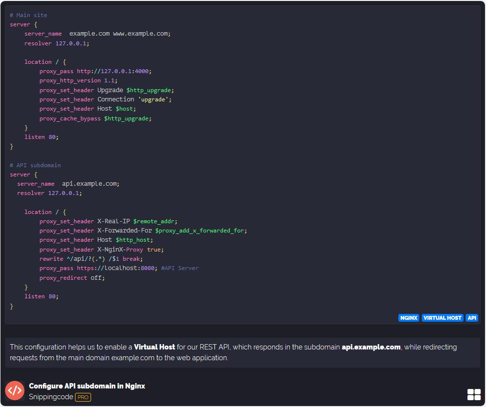 Snipping code - Nginx