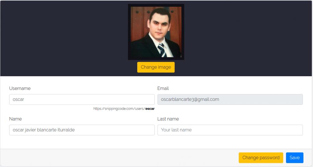 Snipping code - perfil de usuario