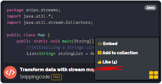 Snipping code - Likes